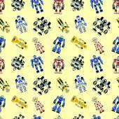 Seamless square robots pattern — Stockvektor