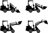 Skid steer loaders. Heavy construction machines. Vector illustration — Stock Vector