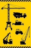 Set of heavy construction machines icons. Vector illustration — Wektor stockowy