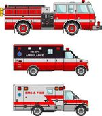 Fire truck and ambulance cars isolated on white background in flat style — Stock Vector