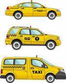 Taxi car on a white background in a flat style — Stock Vector