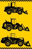 Wheel loaders. Heavy construction machine. Vector illustration — Stock Vector