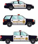 Sheriffs car on a white background in a flat style — Stock Vector
