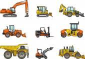 Set of heavy construction machines. Vector illustration — Stock Vector