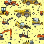Heavy construction machines seamless pattern — Stock Vector
