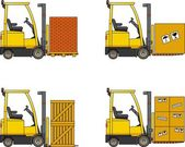 Forklifts. Heavy construction machines. — Stock Vector
