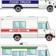 Set of food trucks isolated on white background in flat style. Vector illustration. — Stock Vector #80344816