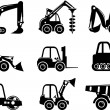 Постер, плакат: Set of silhouette toys heavy construction machines in a flat style