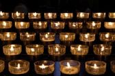 Detail of victims candles in a church — Stock Photo