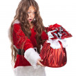 Little christmas girl with gift. — Stock Photo #54017653