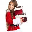 Little christmas girl with gift boxes. — Stock Photo #54108779