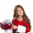 Little christmas girl with gift. — Stock Photo #54108783