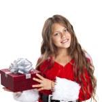 Little christmas girl with gift. — Stock Photo #54108783