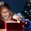 Girl girl open christmas box — Stock Photo #54108833