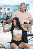 Workout With Personal Trainer — Stock Photo