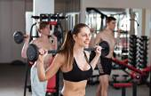 Cross fit with barbell in the gym — Stock Photo
