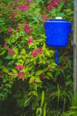 Rustic courtyard and home-made basin on the fence — Stock Photo