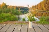 Heldere herfst veld boeket van bloemen in de hand-en-klare keramische vaas op een brug over de vijver of meer. herfst hout op de achtergrond — Stockfoto