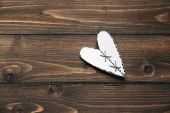 Love Valentine's heart on rustic driftwood texture background, copy space. Valentine day. Eighth of March. International Women's Day. — Stock Photo