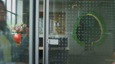 Businesswoman Entering In Office Cabin — Stock Video