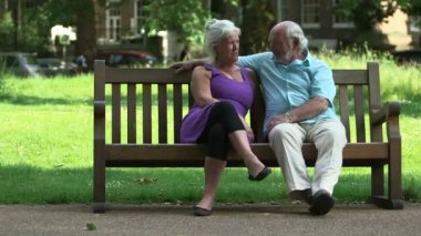 Senior couple in park — Stock Video