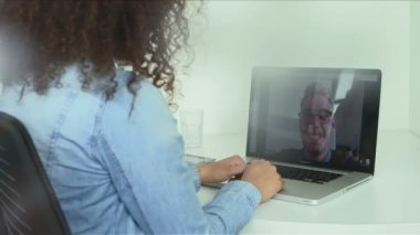 Businesswoman Video Chatting With Man — Stock Video