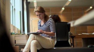 Businesswoman Using Digital Tablet — Stock Video