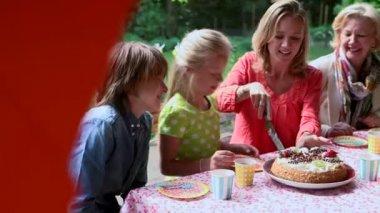 Woman cutting birthday cake — Stock Video