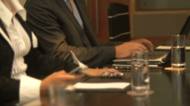 Businesspeople working in conference room — Stock Video