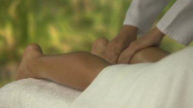 Woman having leg massage — Stock Video