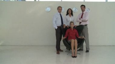 Portrait of businesspeople in office — Stock Video