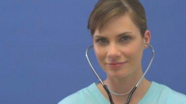 Doctor using stethoscope — Stock Video