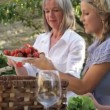 Family passing on strawberries around table — Stock Video #67029811