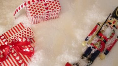 Christmas presents on snow — Wideo stockowe
