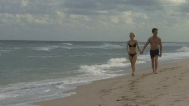 Couple holding hands an beach — Stock Video