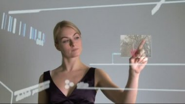 Female touching touch screen wall — Stock Video