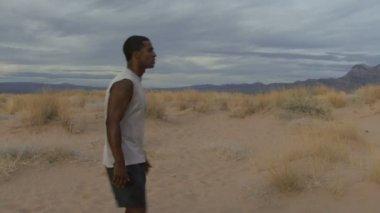 Looking around a desert — Stock Video
