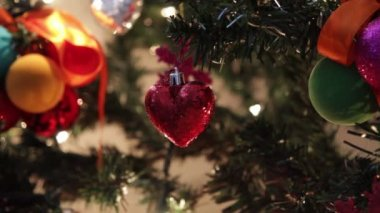 Decorations on christmas tree — Wideo stockowe