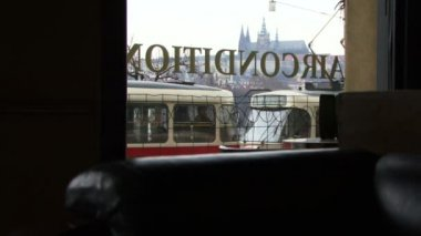 Cathedral and trams trough window — Stock Video