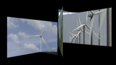 Carousel of wind turbines — Stock Video