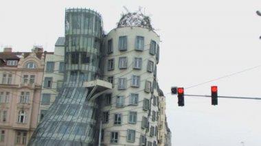 Stoplight next to modern building — Stock Video