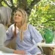 Mother and daughter talking in garden — Stock Video #67033447