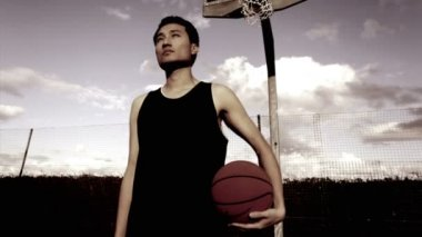 Portrait of male with basketball — ストックビデオ