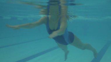 Female swimming in pool — Stock Video