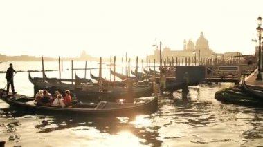 Moored gondolas at sunset — Stock Video