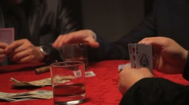 Businessmen and female playing cards — Stock Video