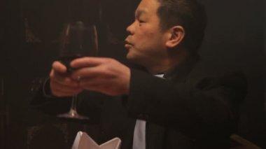 Businessmen toasting wineglasses — Stock Video
