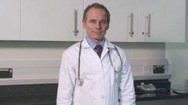 Portrait of male doctor — Stock Video