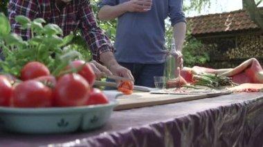 男子切番茄和谈 — 图库视频影像