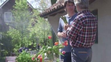 Men talking in domestic garden — Stock Video